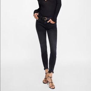 Zara Raw Hem Black Skinny Jeans